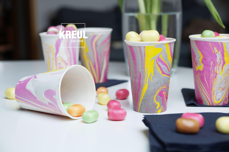 KREUL Upcycling mit Farbe #8: marmorierte Becher für Frühlings ...
