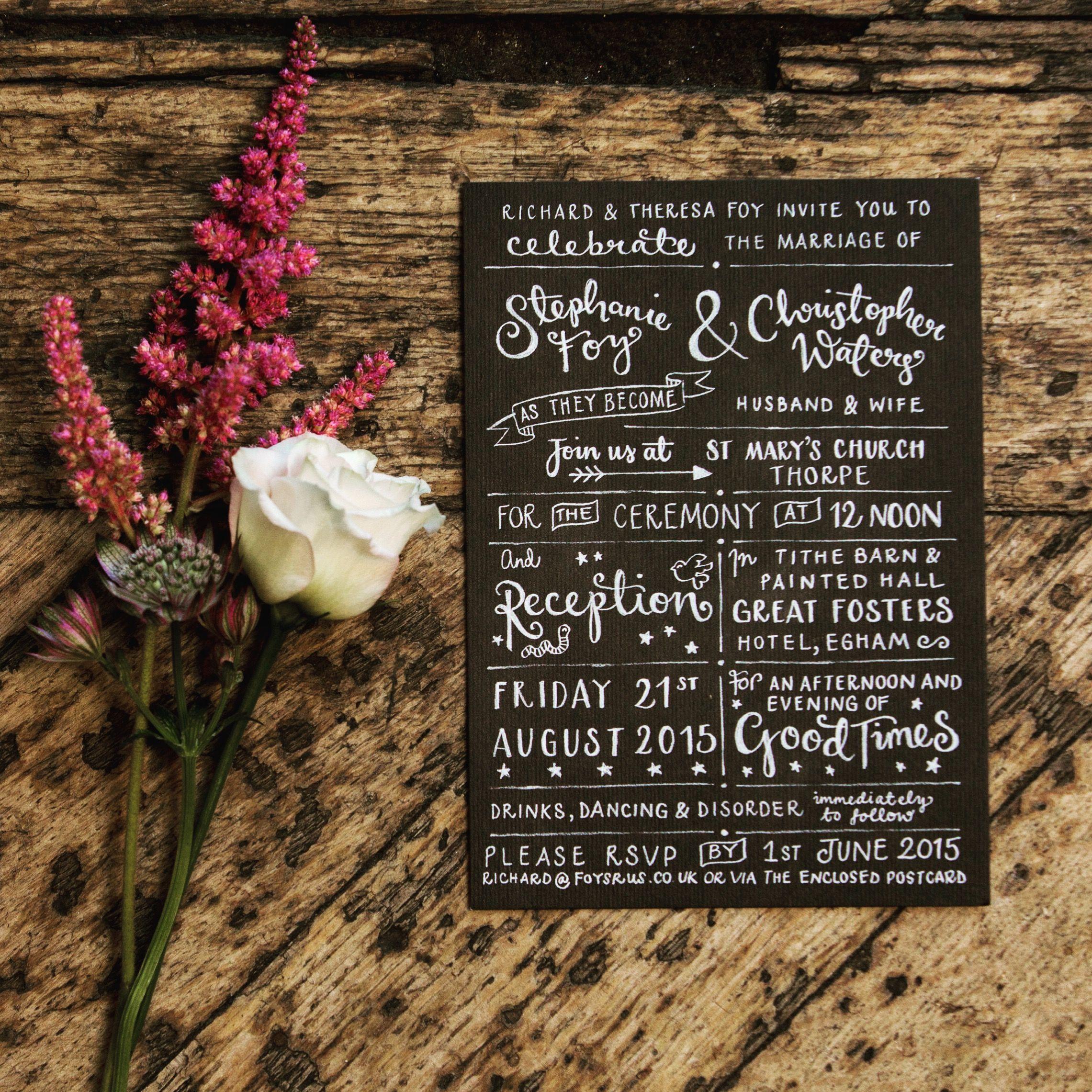 Hand Lettered Chalk Board Wedding Invitation Nroffe