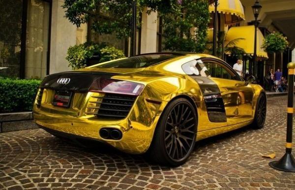 Audi R8, Gold, Color, Car, Tuning, Super Cars