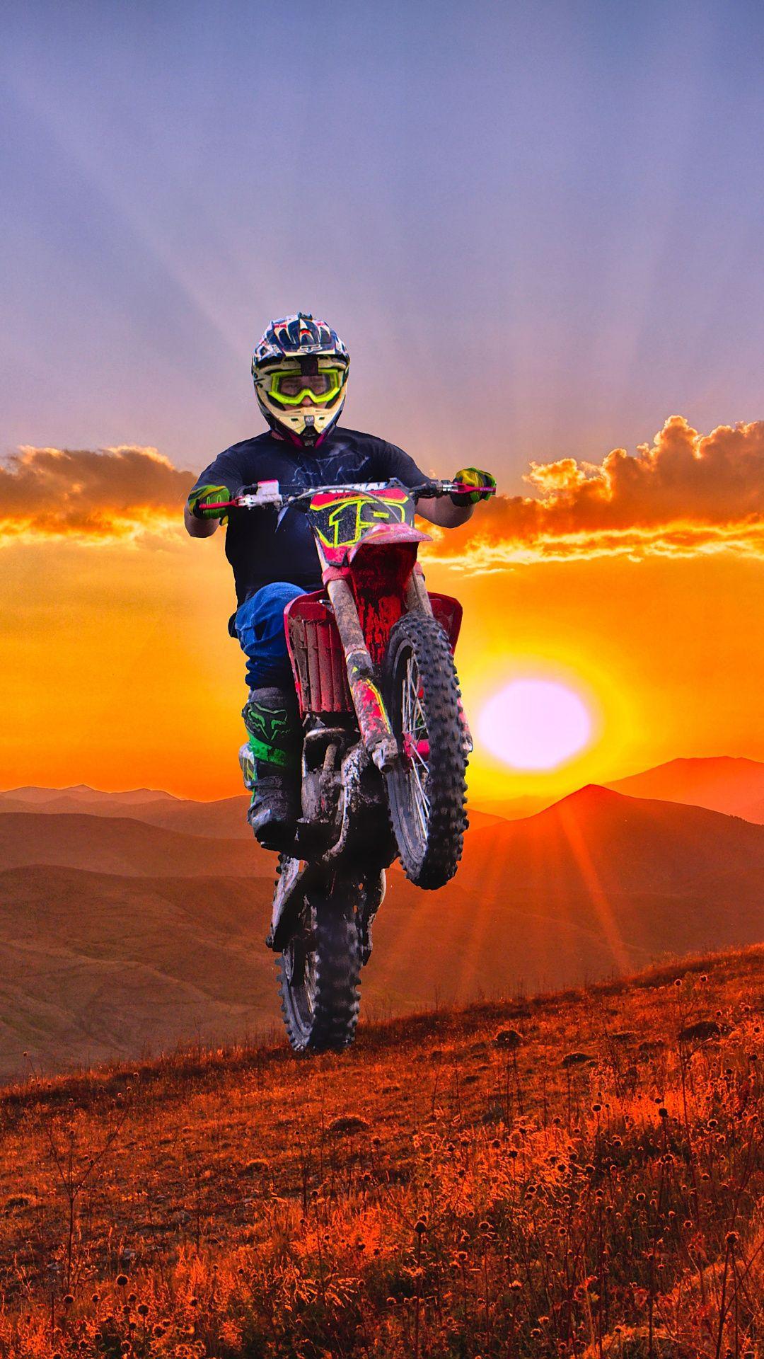 Wallpapers motocross, enduro, sunset, bicycle, motorcycle