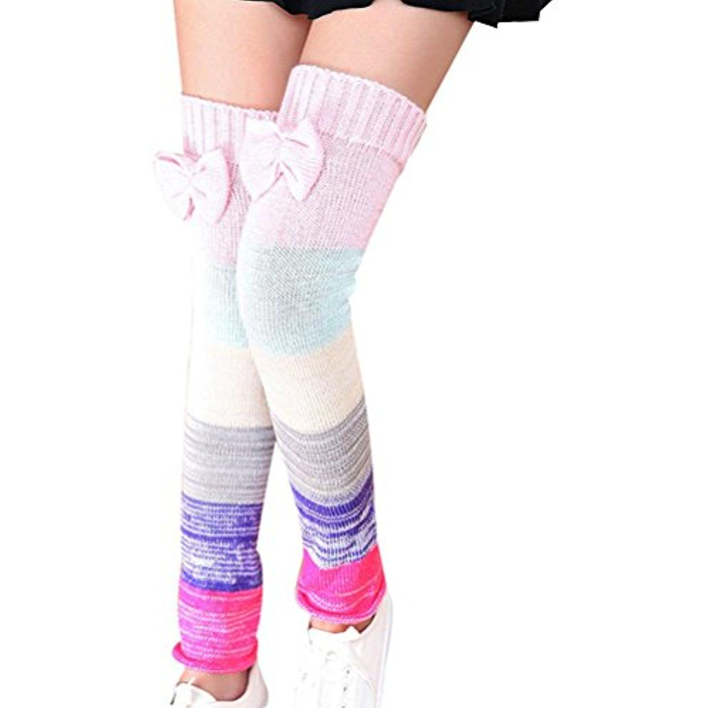 Women's Winter Stockings Egmy Newest 1 Pair Winter Women Bowknot Striped Knitted Stocking Leg Trim Socks