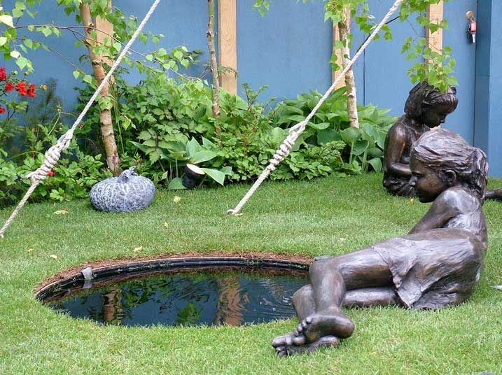 Home Backyard Garden Design Ideas With Bronze Garden Statues And Small Pond  Ideas