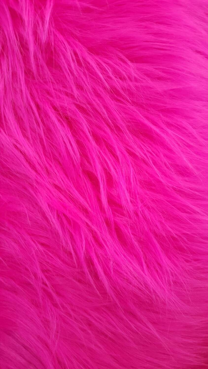Shaggy Faux Fur / Fuchsia Fabric by the yard Fake fur