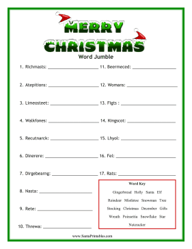 graphic relating to Christmas Word Scramble Printable named Pin upon Free of charge Printables