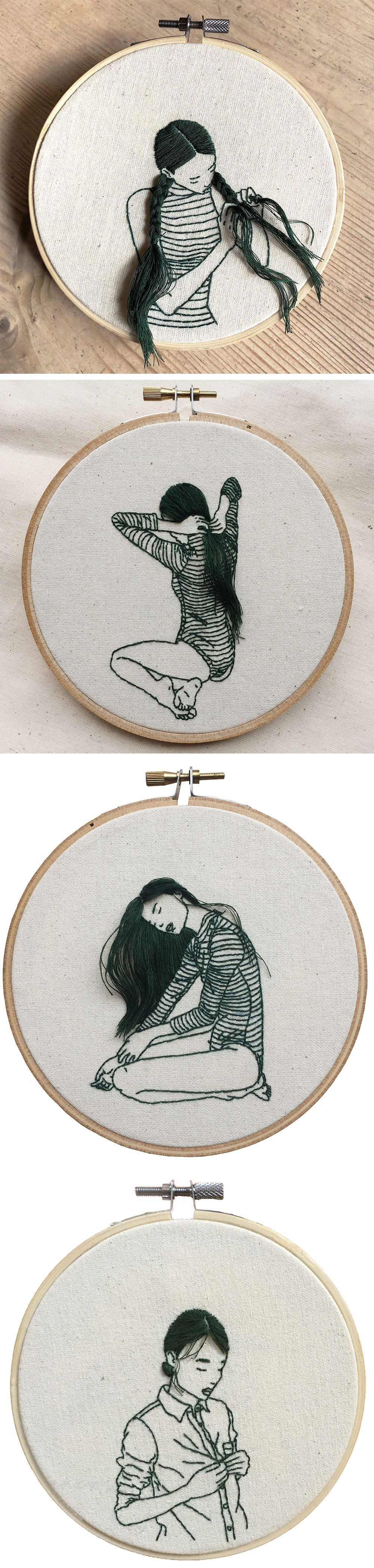 Hand-Sewn Portraits by Sheena Liam Capture Quiet Moments of Self Care #textiledesign