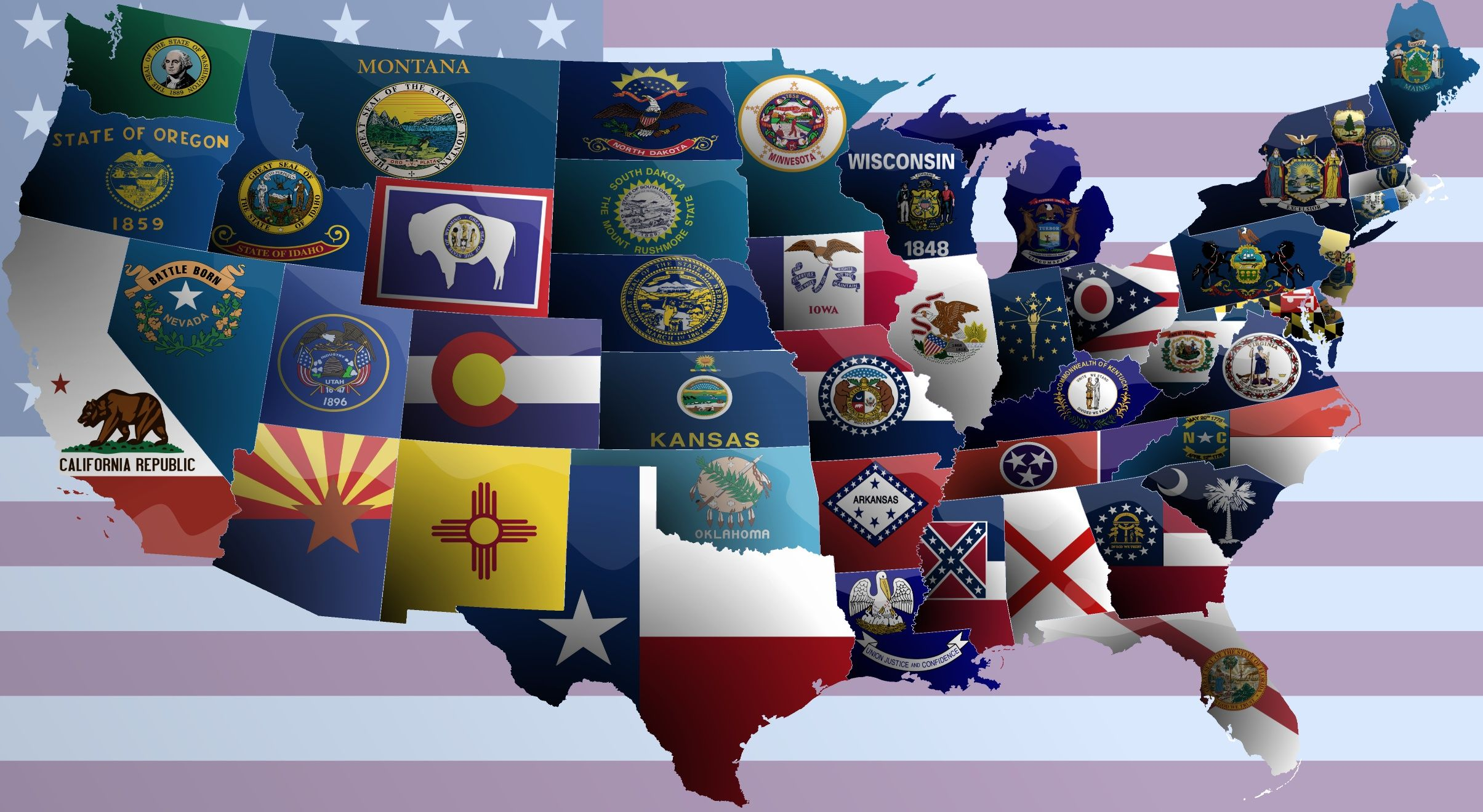 United States of America flag map United