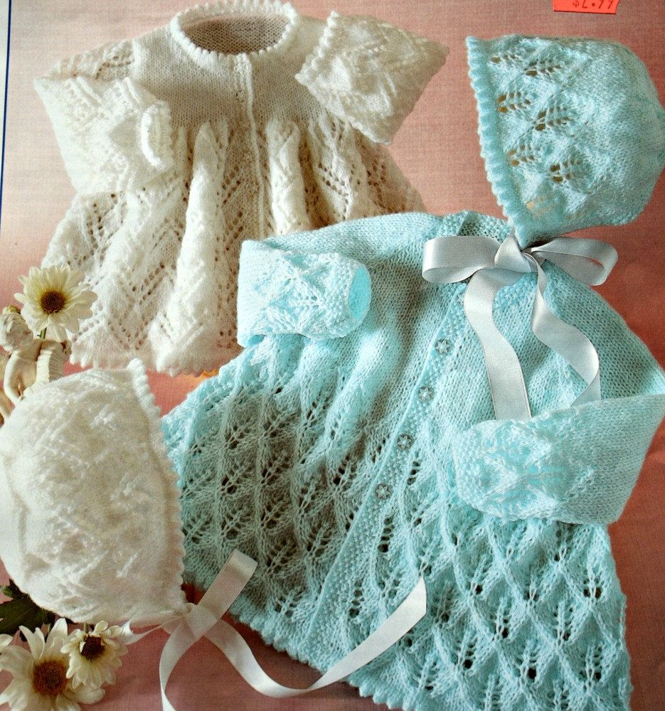 90d0d772f Knitting Patterns Baby Jackets and Bonnets in 3 Ply and 4Ply ...