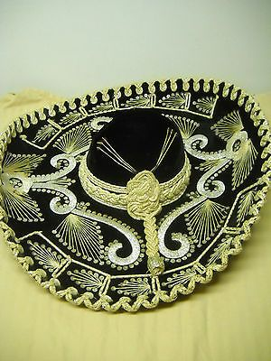 Authentic Antique Vintage Black Velvet Mexican Cowboy Sombrero Hat Mariachi 3538518c06b