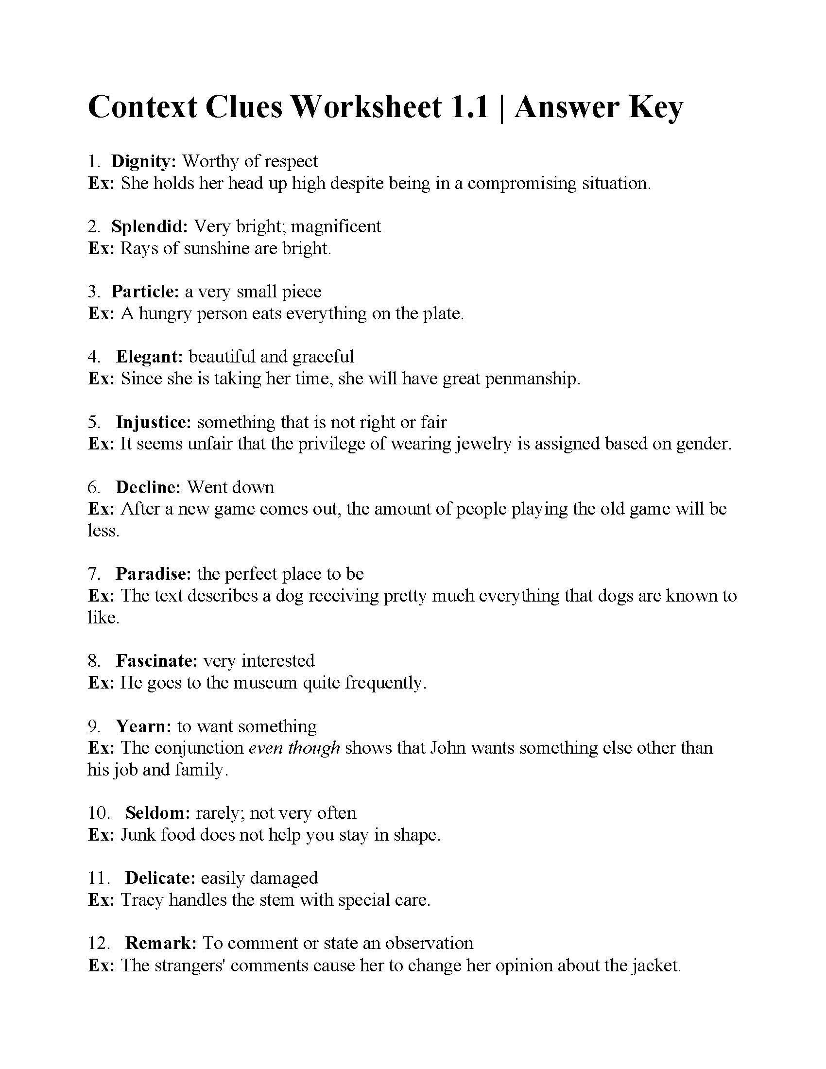 2nd Grade Context Clues Worksheets 38 Interesting Context