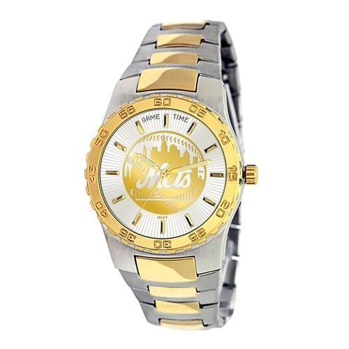 New York Mets NY Mens Dress Watch Gold