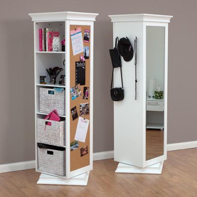 DisplayIt Rotating 360° Swivel Storage   Including Full Length Mirror, 5  Shelf Bookcase U0026 Corkboard   White
