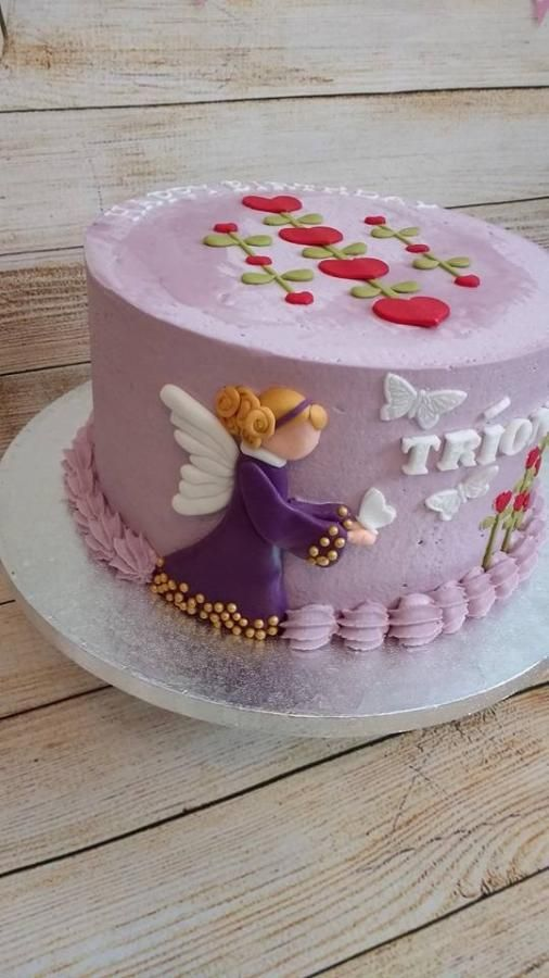 American folk art Angel cake  by Lizzie's Cakes