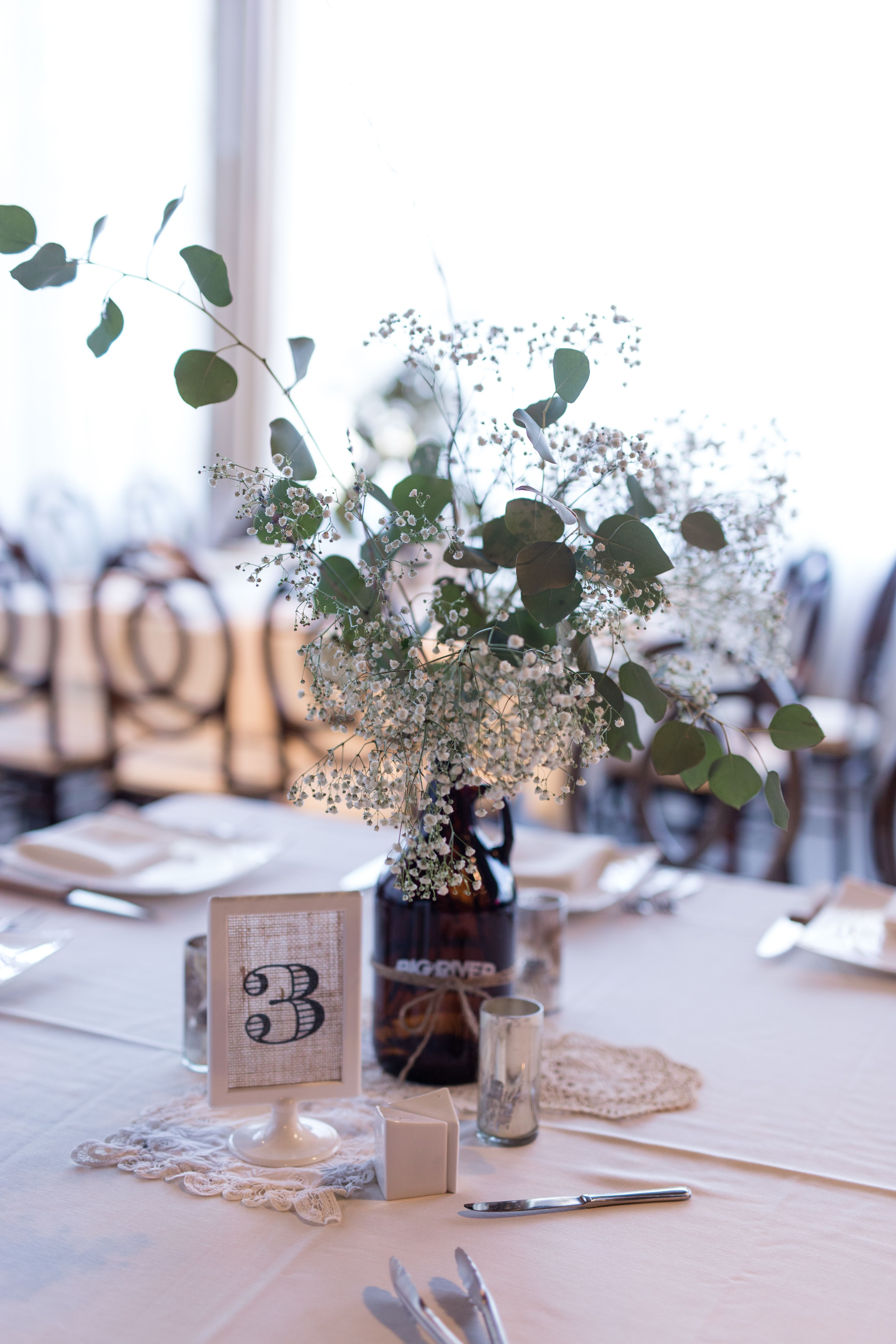 Centerpiece With Baby S Breath And Eucalyptus By Events For You Asheville In Brid Flower Centerpieces Wedding Wedding Floral Centerpieces Wedding Centerpieces