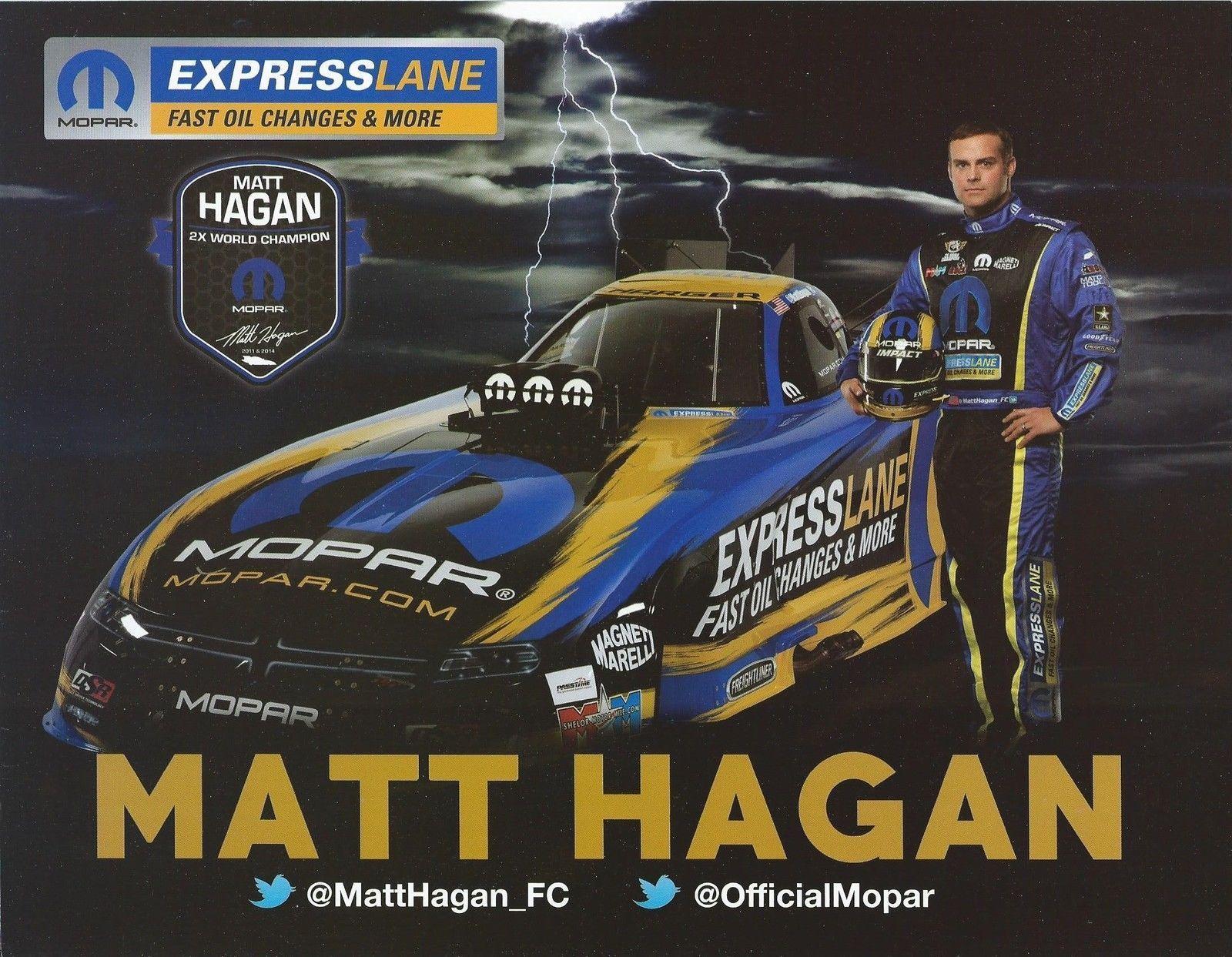 """2015 MATT HAGAN /""""FREIGHTLINER MOPAR DSR/"""" NHRA FUNNY CAR HANDOUT//POSTCARD"""