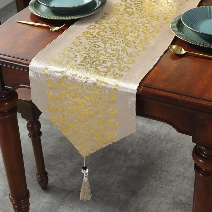 Decor Retro Embroidery Gold Table Runner Mat Flag Table Cloth Runners And Table In 2020