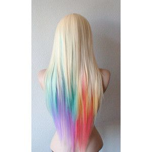 Summer special blonde pastel rainbow color combre wig pastel blonde pastel rainbow color combre wig pastel color long straight colored hair wig lolita blonde c pmusecretfo Gallery