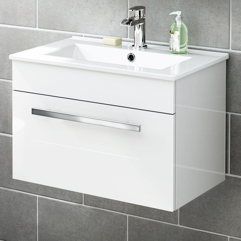 600mm Avon High Gloss White Wall Hung Basin Cabinet | Basin, Avon ...