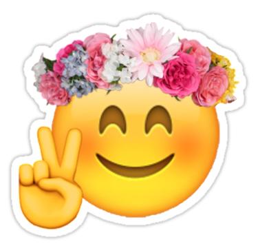 Flower Crown Emoji Sticker By Mizsarie In 2020 Emoji Stickers Hippie Sticker Emoji Wallpaper