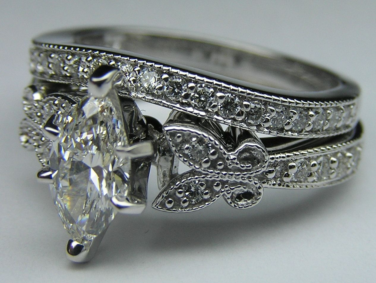 Marquise Diamond Butterfly Vintage Engagement Ring & wrap