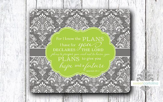 Mouse Pad  Scripture  For I Know the Plans  by SweetCartolina, $11.00