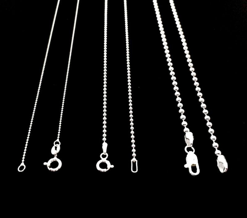 NEW SOLID 925 STERLING SILVER BEAD BALL CHAIN DOG TAG NECKLACE FOR MEN S  WOMEN S efb6256f0