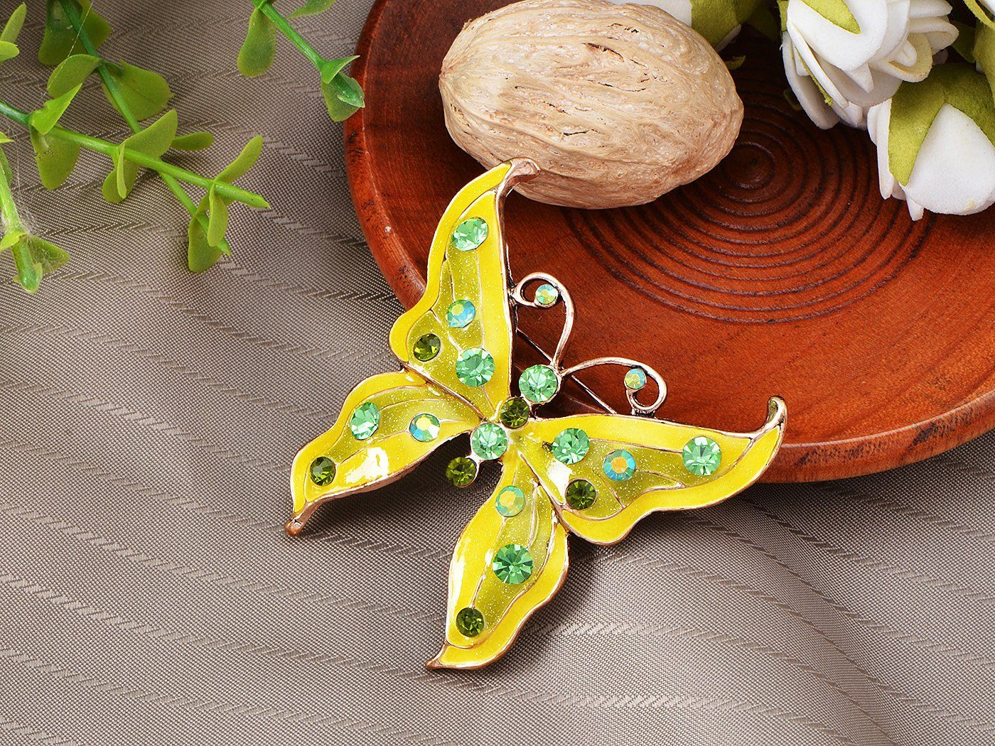 Emaille Zitrone Limette Peridot Ab Green Butterfly Bug Pin Brosche
