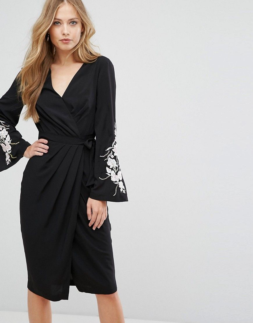 Forever new wrap front midi dress with embroidered sleeves black
