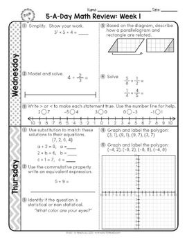 6th Grade Daily Math Spiral Review Morning Work Editable Education