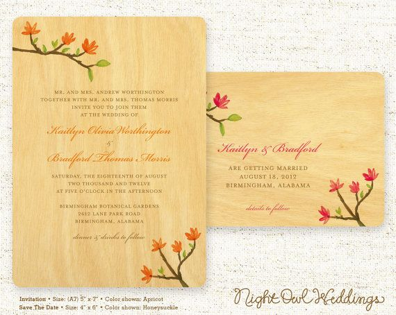 Real Wood Wedding Invitations: One Of A Kind Real Birch Wood Wedding Invitations