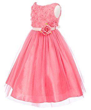OLIVIA KOO Lovely Tulle and Mesh Flower Bodice Flower Girl Dress CORAL 2