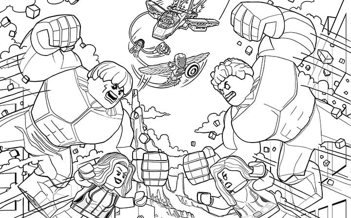 Hulk Vs Red Hulk Lego Coloring Pages