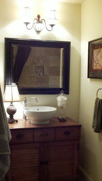 Craigslist Dresser Turned Into A Vanity Bathroom Mirror Decor Framed Bathroom Mirror