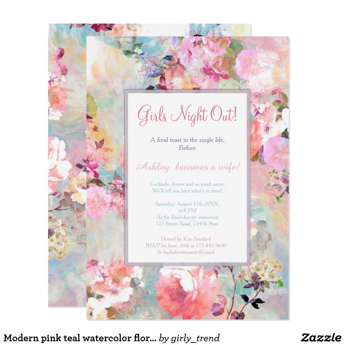 Modern pink teal watercolor floral bachelorette card | Bachelorette ...