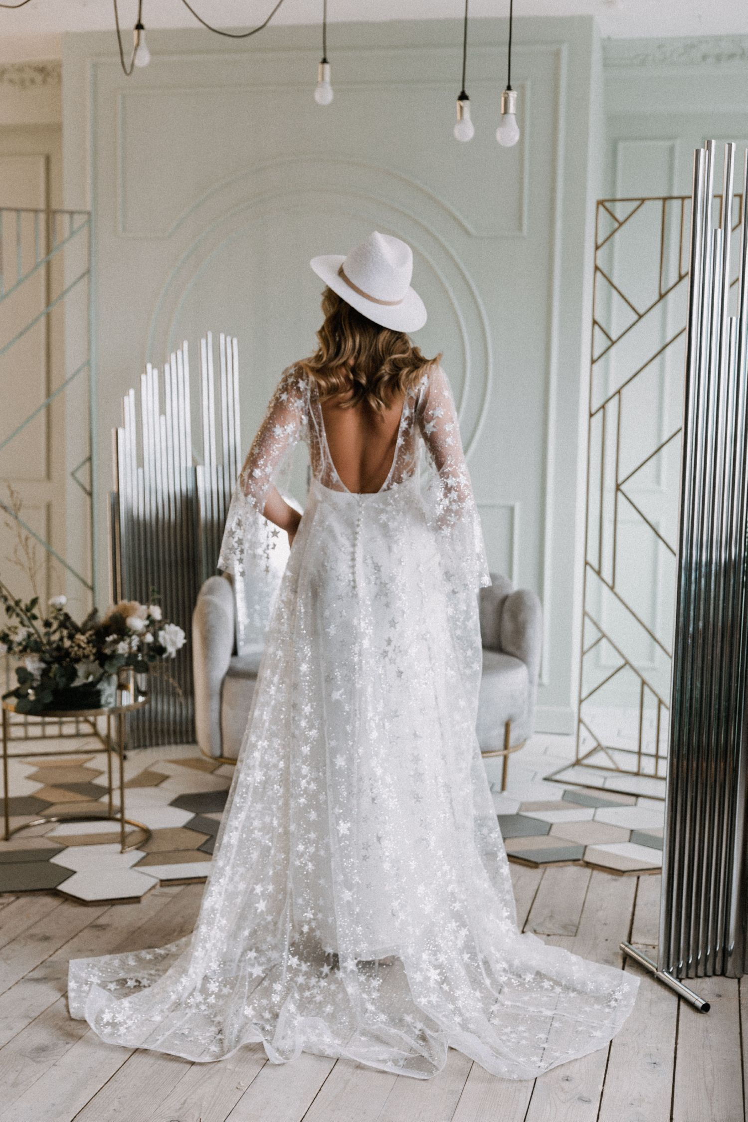 Bohemian Wedding Gown By Dream Dress Mesh Bridal Dress Summer Reception Gown Light Star Dress Un Trendy Wedding Dresses Wedding Dresses Lace Bridal Dresses [ 2250 x 1500 Pixel ]