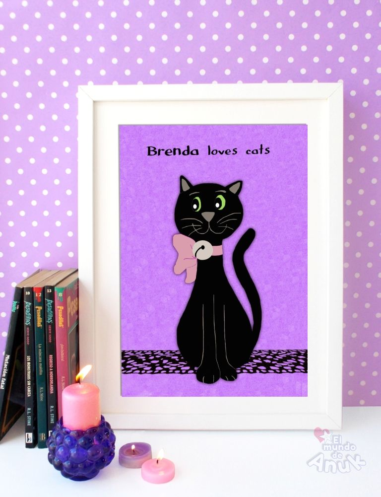 Details About Black Cat Halloween Print Magic Night From An