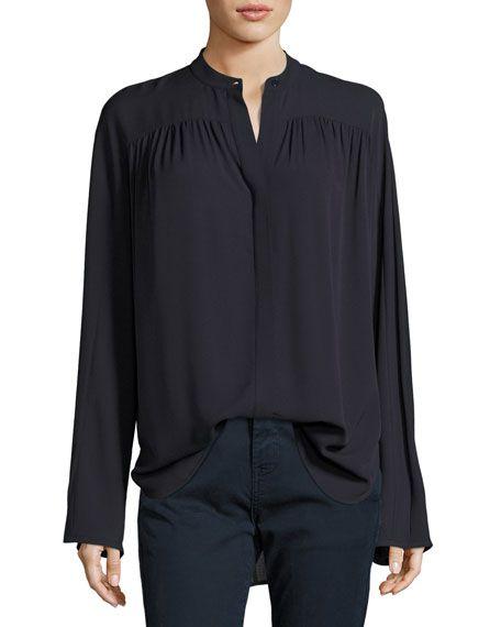 44e8507ef409c VINCE Shirred Long-Sleeve Silk Blouse
