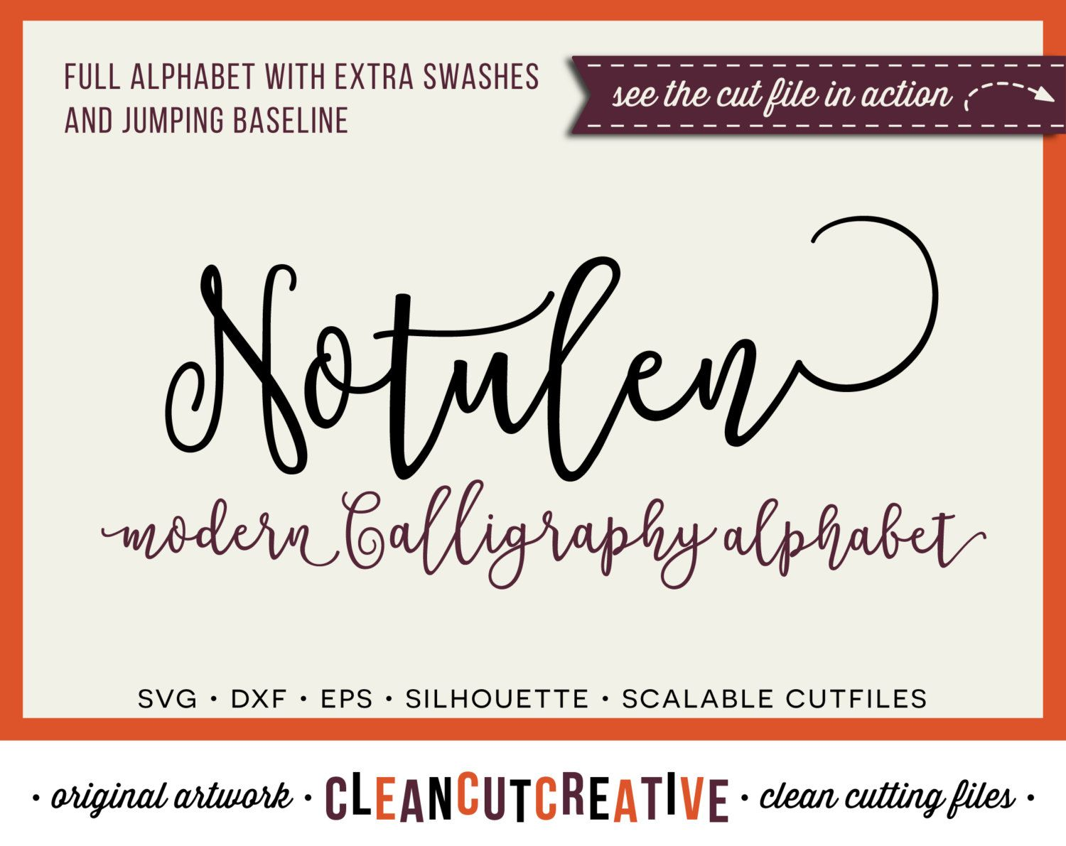 Full alphabet svg fonts cutfile modern calligraphy
