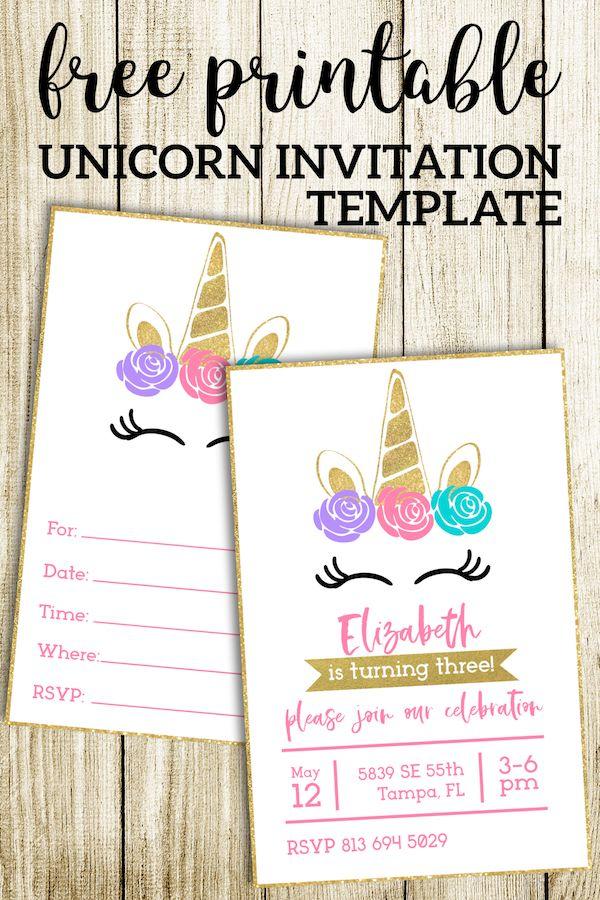Free Printable Unicorn Invitations Template Paper Trail Design Printable Unicorn Invitations Unicorn Invitations Unicorn Birthday Invitations
