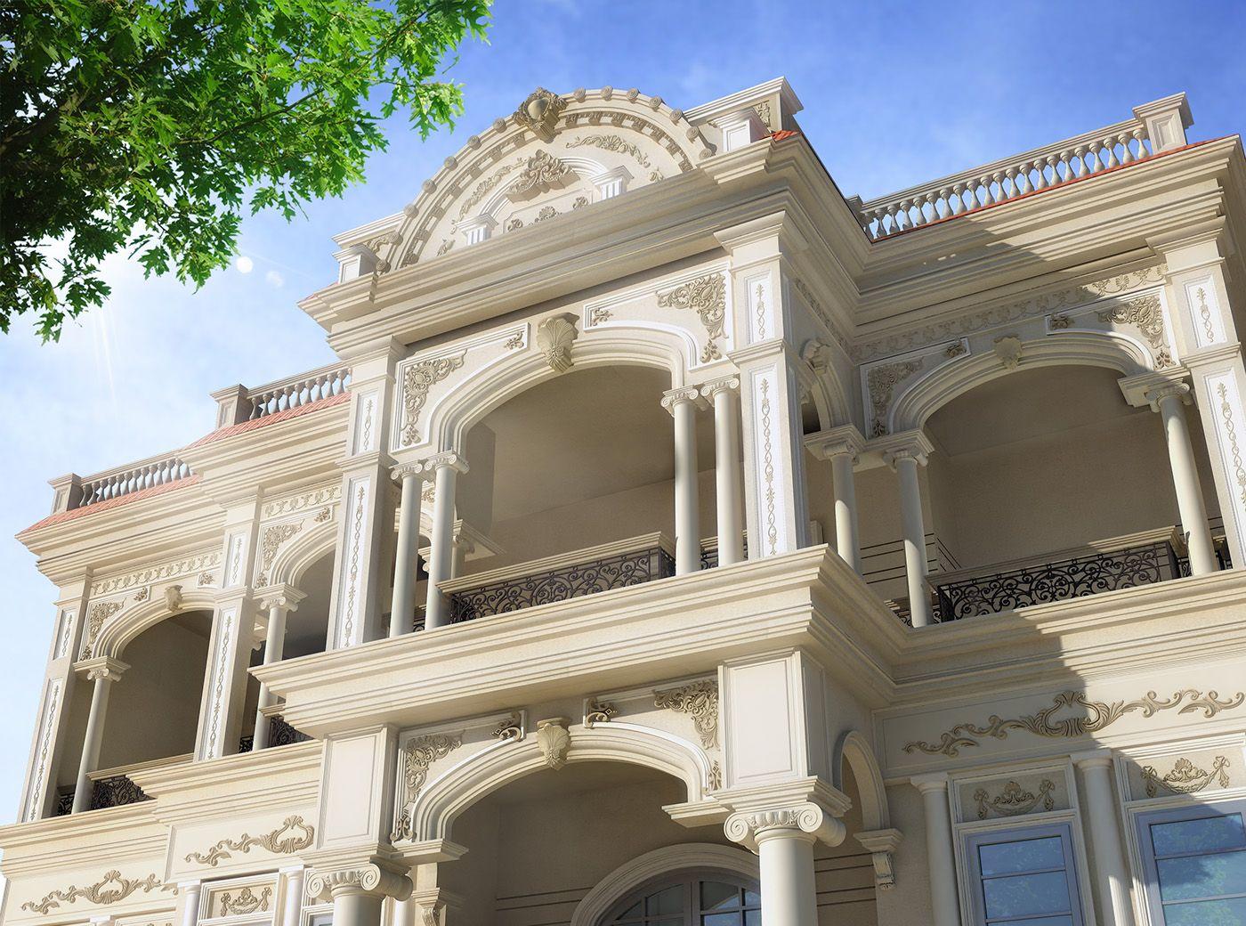 3d Visualization Of Classic Villa Behance Villas In