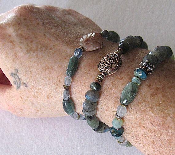Artisan Jewelry/Handmade Stone Bracelet/Gemstone Jewelry/Beach Boho Style/Labradorite/Chrysopraise/Kyanite/Blue Gemstone Bracelet. $39.00, via Etsy.