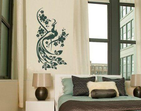 Wandtattoo Pfau ( Größe 120cm x 230cm - Farbe gold ) Motiv-Nr - küche welche farbe