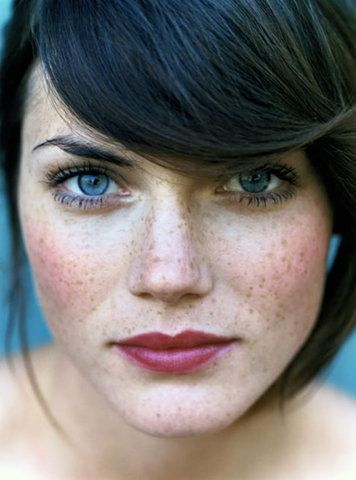 Freckles Blue Eyes Brown Hair Red Lips Probably The Fiercest