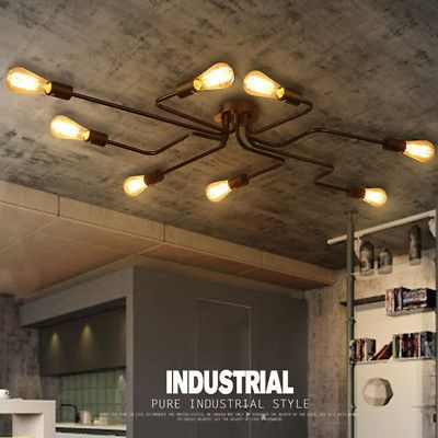 Metal Large 4//6//8 Lights Barn Industrial Edison Semi Flush Mount Ceiling Lights