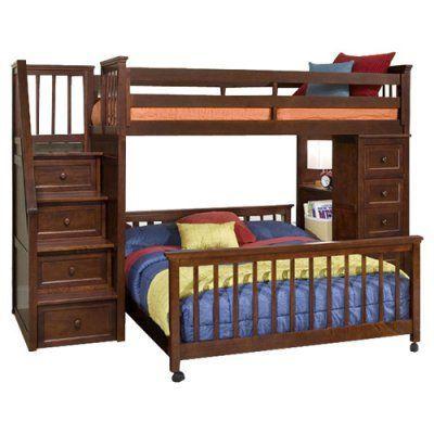 Ne Kids Schoolhouse Stairway Loft Bed With Chest End Cherry