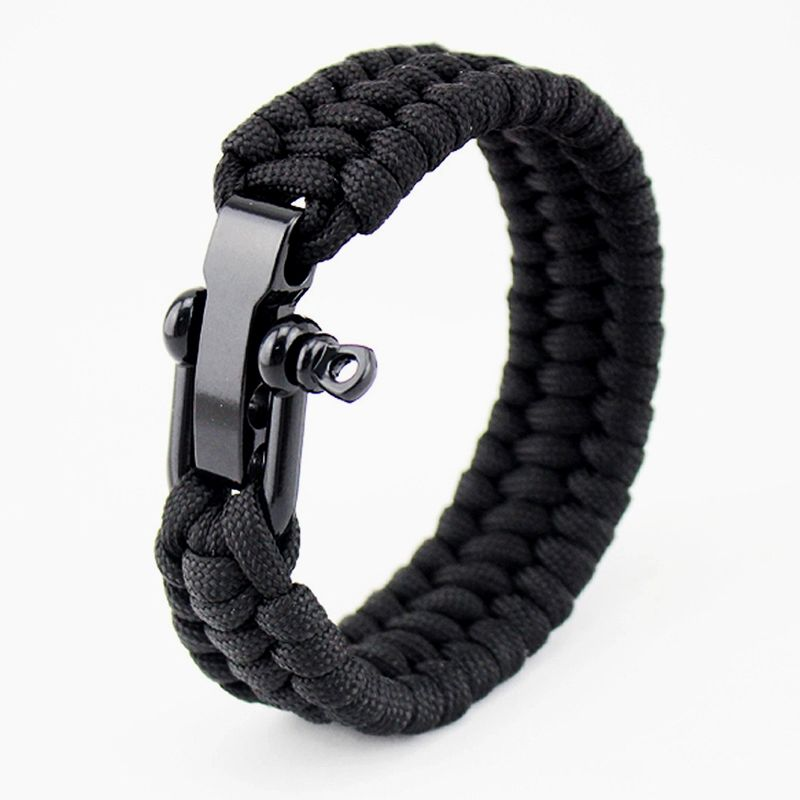 Niuyitid Mens Stainless Steel Shackles Paracord Survival Bracelet
