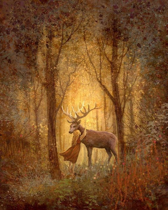 Hirsch mit Mädchen in Wald #autumnscenes Hirsch mit Mädchen in Wald #autumnscenes