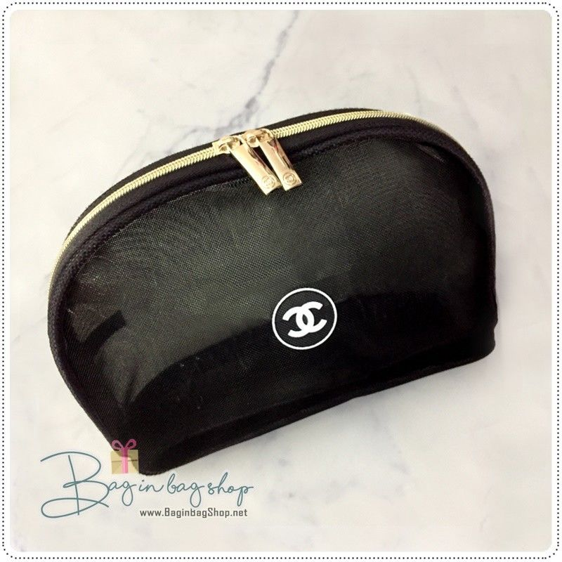 4edc7cdc0960 CHANEL Beaute Black Mesh Gold Zip Cosmetic Makeup Bag Pouch VIP Gift #CHANEL