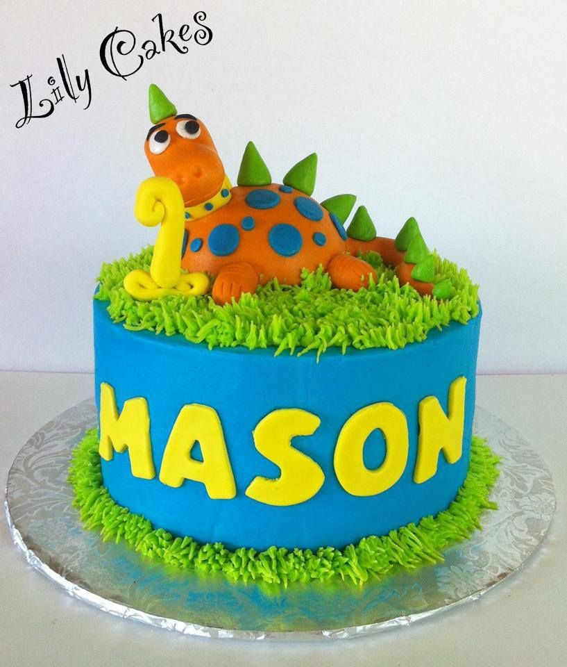Baby Dinosaur 1st Birthday Cake With Images Dinosaur Birthday