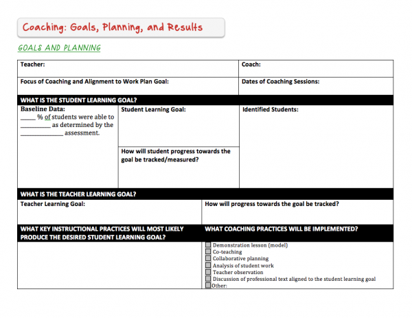 Instructional Coaching Tools Goals  Planning  Literacy
