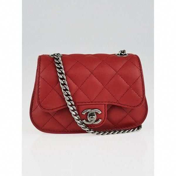 Pre Owned Chanel Red Quilted Lambskin Leather Classic Mini Flap